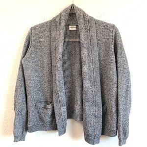 Madewell Wallace Cardigan Drape Front Pockets Gray